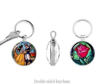 Beauty and the Beast Two Sided Keyring Beauty and the Beast Double Sided Keychain Belle and the Beast Keyfob Rose Keychain