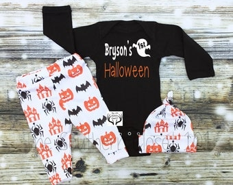 Baby Boy Halloween Outfit,Boy Coming Home Outfit,Custom Name, 1st Halloween,Baby Halloween Outfit,Spiders,Baby Halloween Boy