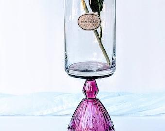 French vase/ Handmade French vase/ Bon Voyage/ Purple vase/ Handmade vase/ Vintage style vase/ Glass vase/ Farewell gift/ Gift/ Home decor