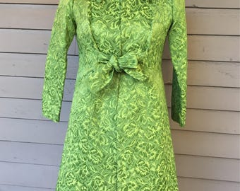 1960s Green 2pc Brocade Shifth Dress with Matching Jacket with Front Tie and Peter Pan Collar Size Extra Small Size 0-2