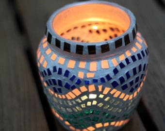 Summer outdoors Candle holder Multi color Mason jar light Emerald light holder Stain glass Outdoor lighting Exterior lighting Summer gift