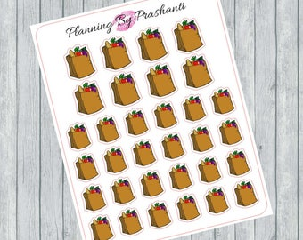 Brown Grocery Paper Bags Planner Stickers - For Erin Condren Life Planner or Happy Planner