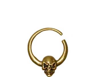 Skull brass Ethnic Septums / Earring Brass septum tete de mort pirate