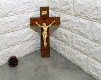 wall crucifix, wall cross, jesus wall art, Antique crucifix, wooden crucifix, Antique cross, Antique religious, wood cross, Catholic church,