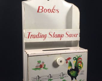 Vintage 1950s Mid-Century Tin Trading Stamp Saver Featuring Country Farm Scene