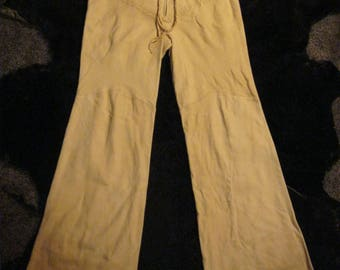Vintage ITALIAN LEATHER/SUEDE Rock Star - I. Magnin Pants Size 8/10 - Flares - Cream Colored