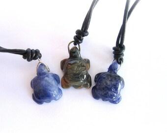 Mens turtle pendant, turtle necklace, mens tiger eye pendant, mens sodalite pendant, stone turtle pendant, turtle leather necklace