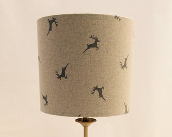 Hand made rolled-edge, gold-lined 'Deer' 20cm fabric lampshade