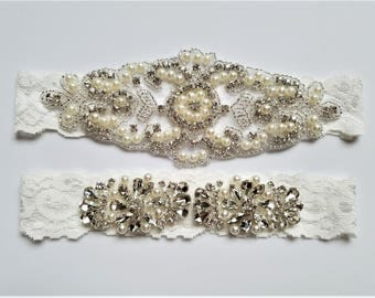 Wedding garter, Bridal Garter Set - Crystal Pearl OFF WHITE Lace Wedding Garter Set