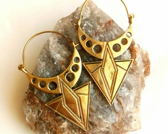 Geometric Earrings. Hoop Earrings, Brass Earrings, Tribal Earrings, Brass hoop Earrings, Boho Earrings. Festival Earrings. Ethnic Earrings.