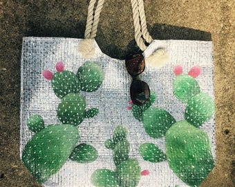 Cactus Tote Bag, Palm Springs Bag, Desert Tote, Palm Springs Purse, Coachella Purse, Hand Painted Tote, Straw Tote Bag, Straw Summer Bag