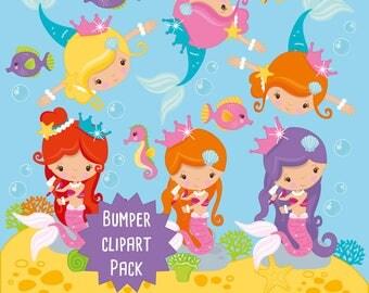 Mermaids clipart commercial use, Mermaids clipart vector graphics, Mermaid digital clip art, Mermaid digital images - CLIP001