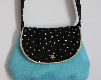 Chic bag for girl in turquoise and black weight suede gold