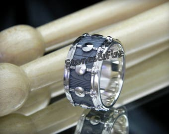 DRUMMERS RING_Drum Ring_Musician Ring_Musicain Gift_Music Jewelry_Custom Made Silver Ring