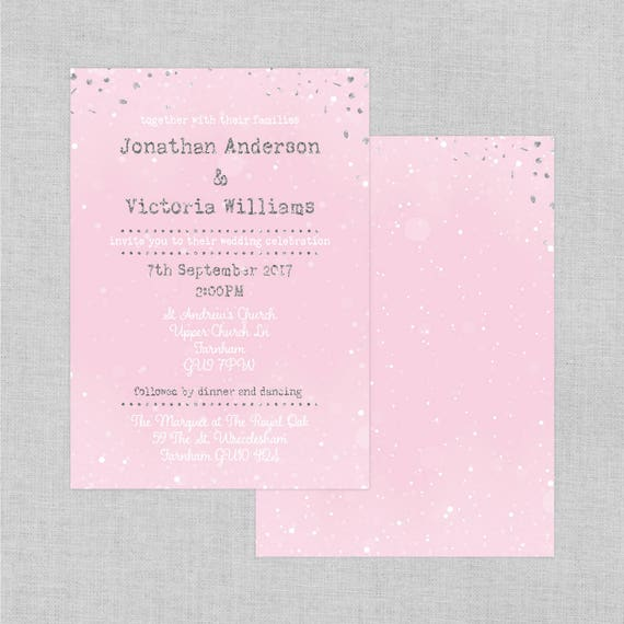Blush pink and silver wedding invitations, Winter wedding invitations, Metallic silver wedding invitations, Wedding invitations cheap, A5