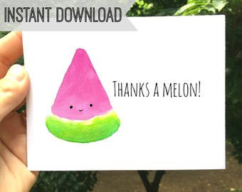 Printable Notecard, Thanks a Melon, Thank You Card, Instant Download, Friends, Family, Kids, Blank Inside, Digital Notecard, Watermelon Card