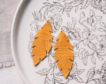 Mustard Yellow Leather Leaf Earrings
