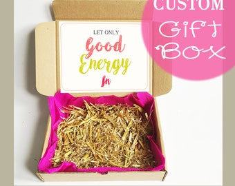 Custom Gift Boxes With Lids - Personalized Kraft Box, Present Box, Gift Wrap, Brown Cardboard Box, Only Good Energy,  Packaging Box, Gifts