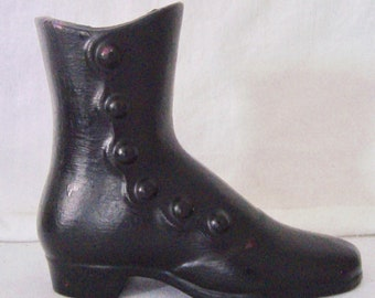 Vintage 1960s or 70s Black Cast Aluminum Ladies High Top Shoe Wall Pocket, Vase, Hearth or Wall Match Holder