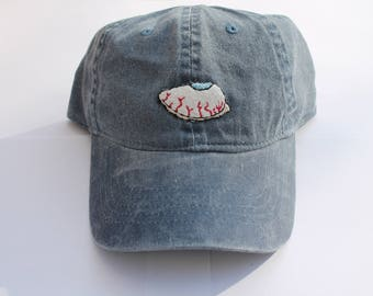 Eye roll Hand Embroidered Denim Baseball Cap