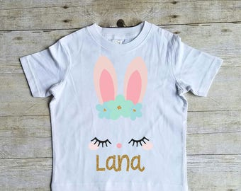 Pretty Bunny Shirt, Easter Shirt for Girls, Cute Easter Shirt, Easter Shirt for Toddler Girl, Girls Easter Shirt, Toddler Girl Easter Shirt