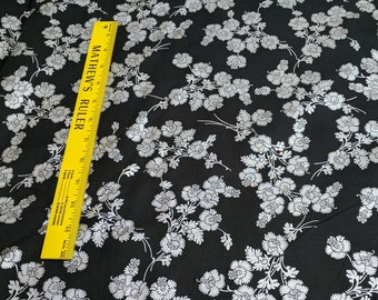 Onyx and Silver Flower Cotton Fabric from Hoffman Fabrics