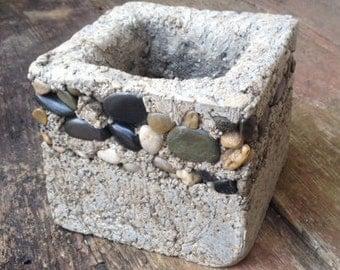 Hypertufa Rock It Pot/Square indoor or Outdoor Planter