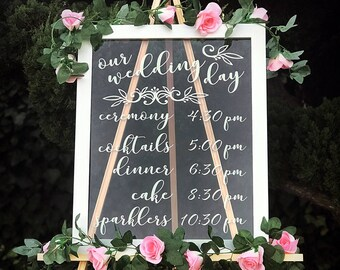 """Clear Wedding Timeline Sign in Frame - 16"""" x 20"""" See Through, Transparent Event Schedule Sign, Bridal Shower, Engagement Party, Baby Shower"""