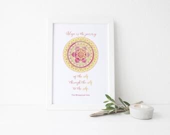 Yoga Decor // Yoga Wall Art // 8 X 10 Print // Bhagavad Gita Print // Sacred Space Decor // Mandala Print