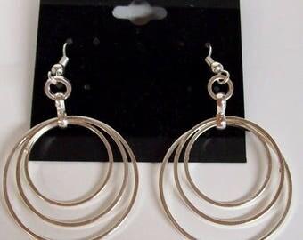 Triple Hoop Earrings in Silver Finish