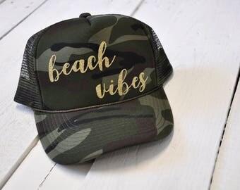 Beach Vibes, camo trucker hat