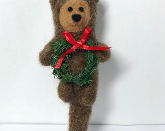 Handmade Needle Felted Otter with Christmas Wreath Holiday Ornament