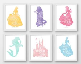 disney wall art set of six printable disney quotes pink grey