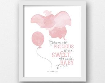 Dumbo, PRINTABLE, Disney quote, Disney prints, Disney wall art, Baby of mine, Boys nursery art, Nursery decor, Girls room ideas, Pink