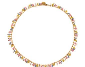 Pop Art - heavily bead embellished drop necklace in pastel pop art colours