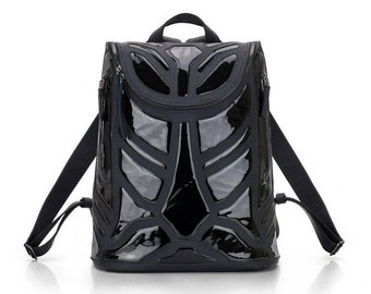 Black Leather Backpack In a Single Copy / Handmade Leather Backpack / Two Kind Leather Backpack / Black Rucksack Patent leather