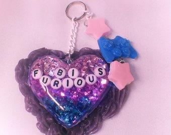 Bi-Furious Heart Resin Key chain