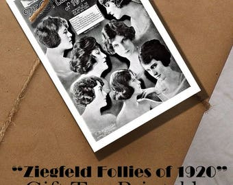 Ziegfeld Follies of 1920 Gift Tag Printable Digital INSTANT DOWNLOAD