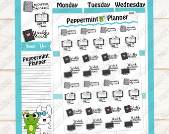 Time to Plan --- Midweek Spread --- Weekly Spread --- Watch Planning Video --- Planner Stickers --- 605