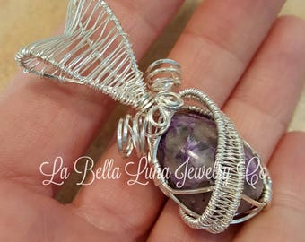 Charoite Wire Wrapped in Argentium Sterling Silver Wire
