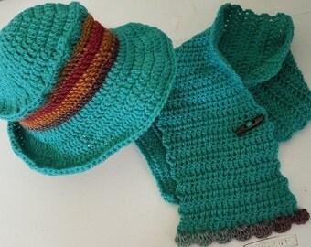 Crochet Turquoise Hat and Neckwarmer