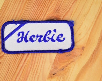 """Name Tag Herbie Love Bug Vintage Patch / Size 1 3/4"""" x 3 1/2"""""""