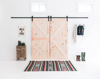 13-Foot Double Barn Door Hardware (Black) - Includes Easy Step-By-Step Installation Video - Ultra Quiet, Successfully Tested 100,000 Rolls