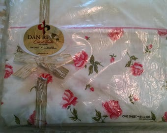 Shabby Pink Roses Double Full Flat Floral Sheet Dan River Combed Percale All Cotton Pink & White Unused in Package Cottage Chic Made in USA