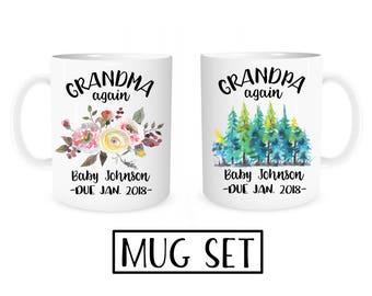 Grandparents Again Mugs, Pregnancy Reveal to Grandparents, Pregnancy Announcement Grandparents, Grandma again, Grandpa again, Mug Set