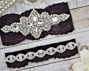 Plum Purple Wedding Garter Set NO SLIP grip vintage rhinestones pearl lace rhinestone