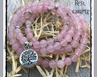 Rose quartz Mala, 108 beads, Mala Bracelet, Reiki, tree of life, Rosary, Prayer beads, pink quartz, meditation beads, rose quartz, zen
