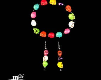 Halloween Bracelet SET with Multi-Coloured Skulls, Colourful, Round, Stretchable, Kids, Adults, Party, Scary, Wrist, Candy, Fall, Decorate