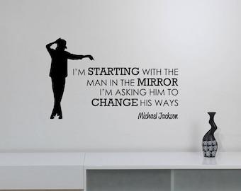 Michael Jackson Quote Wall Decal Vinyl Lettering Inspirational Sticker American Singer King of Pop Art Home Room Motivational Decor jq1