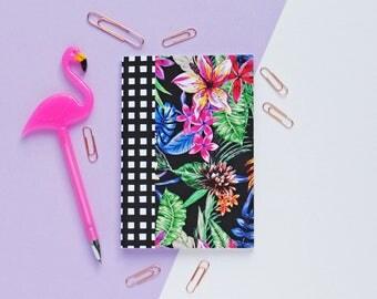 A6 Black Tropical Plain Paper Notebook
